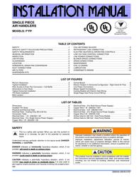 Coleman Single Piece Air Handlers F*FP User Manual