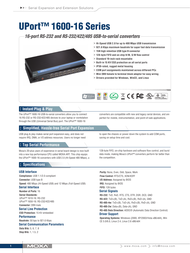Moxa UPort 1650-16 Specification Guide