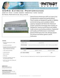 Patriot Memory DDR3 2GB (2 x 1GB) PC3-14400 Low Latency DIMM Kit PVS32G1800LLK Leaflet
