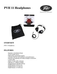 Peavey Electronics PVH 11 03012480 Leaflet