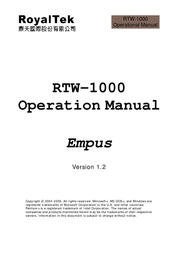 RoyalTek RTW-1000 User Manual