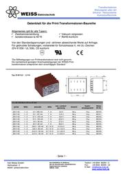 Weiss Elektrotechnik 85/318 - PCB Mount Transformer 1.5VA 2 x 12V 63mA 85/318 Data Sheet