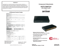 CE labs sw104hd User Guide
