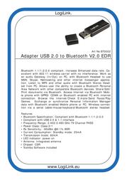 LogiLink Adapter USB 2.0 to Bluetooth V2.0 EDR BT0002 Leaflet