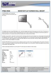 Newstar LCD/LED/TFT wall mount FPMA-W940 Leaflet