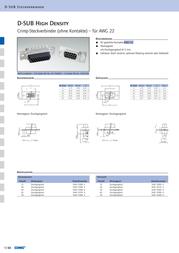 Conec D-SUB pin strip 180 ° Number of pins: 26 Crimp 163X10179X 1 pc(s) 163X10179X Data Sheet