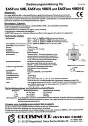 Greisinger EASYLOG 40 K Temperature Data Logger 600667 Data Sheet