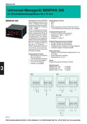 Ziehl MINIPAN 300 DC Digital Meter Installation MINIPAN 300 DC 1 mV - 500 V/DC / 1 mA - 1 A Assembly dimensions 33 x 68 D 440300.CO Data Sheet