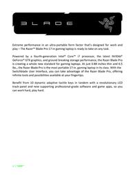 "Razer Blade Pro 17"" (2013) Owner's Manual"