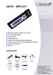 ODYS MP3 Player MP3-S11 1024 MB X700073 Leaflet