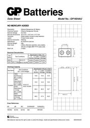 GP Batteries 9V GP1604AU-U1 Data Sheet