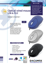 Dacomex Optical Mouse - PS/2 & USB 571102 Leaflet