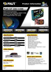Palit GeForce GT 220 NE2T220NF0851 Leaflet