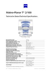 Carl Zeiss Makro-Planar T* 2/100 1762-852 User Manual