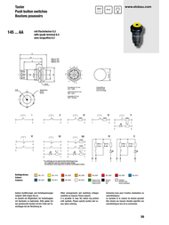 Elobau Pushbutton 48 V DC/AC 0.5 A 1 x On/(Off) IP67 momentary 1 pc(s) 145000AA10 Data Sheet