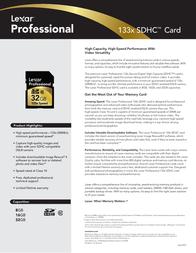 Lexar 8GB Professional 133x SDHC 932048 Leaflet