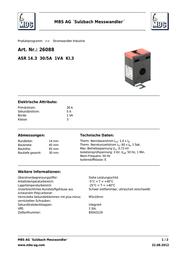 Mbs ASR 14.3 30/5A 1VA Kl.3 26088 Data Sheet