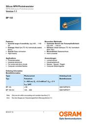 Osram Components N/A BP 103 N/A Osram Components BP 103 Data Sheet