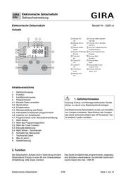 Gira Timer 038527 038527 Data Sheet