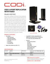 CODi USB 2.0 Port Replicator A01042 Leaflet