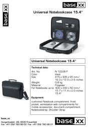 """basexx Universal Base XX Notebook Case 15.4"""" 10pk N12228P 10PK Leaflet"""