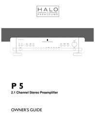 Parasound Home Theater System P 5 User Manual