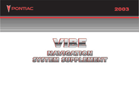 Pontiac Vibe Navigation System Supplement User Manual