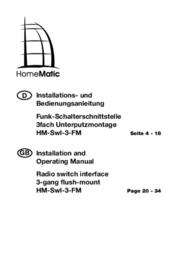 Homematic 76785 Wireless switch interface 3-channel Max. range (open field) 100 m 76785 User Manual