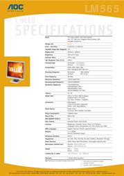 """AOC LM565 Slim 15"""" TFT LM565 Leaflet"""