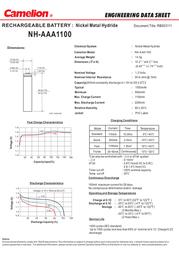 Camelion NH-AAA1100BP4 17011403 Data Sheet