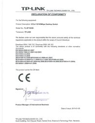 TP-LINK 5-Port 10/100Mbps Desktop Switch TL-SF1005D Declaration Of Conformity