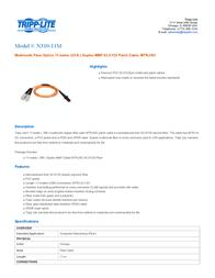 Tripp Lite Multimode Fiber Optics 11-m (35-ft.) Duplex MMF 62.5/125 Patch Cable, MTRJ/SC N310-11M Leaflet