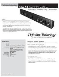 Definitive Technology Mythos Solo Surround Array SSA-50 User Manual