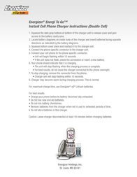 Energizer Energi-To-Go Instant Cell Phone Charger CEL2SPR Leaflet