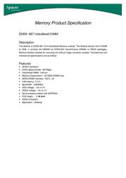 Apacer DDR2 512MB Memory Module 78.963A5.G01 Leaflet