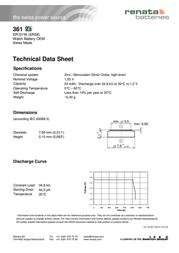 Renata Button cell Silver oxide 361 24 mAh 1.55 V 1 pc(s) 361.SP MF Data Sheet