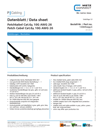 BTR NETCOM Cat6A, 5m 1308455088-E Data Sheet