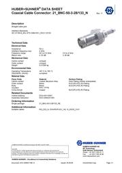 Huber + Suhner BNC connector Socket, straight 50 Ω Huber & Suhner 21_BNC-50-3-27/133_NE 1 pc(s) 84057699 Data Sheet