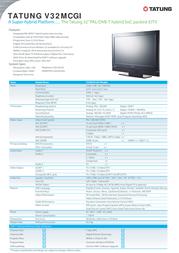 "Tatung 32"" Widescreen HD-Ready LCD TV V32MCGI-E01 Leaflet"