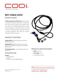 CODi Key Cable Lock A02001 Leaflet