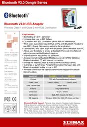 Edimax EB-DGC1 Bluetooth V2.0 USB Adapter Class-1 (150M) EB-DGC1 Leaflet