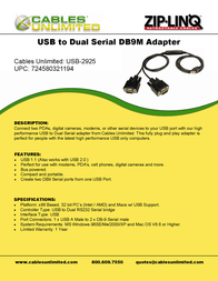 Cables Unlimited USB Cable to Dual DB9 Serial Adapter USB-2925 Leaflet