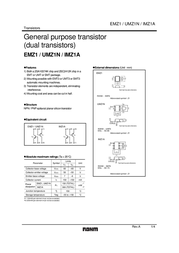 Rohm Semiconductor EMZ1T2R Bipolar Transistor Emitter reverse voltage U(CEO) -50 V EMZ1T2R Data Sheet