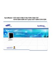 "Samsung SM193T 19"" TFT .29 82kHz TCO95 Black NB19BSHB User Guide"