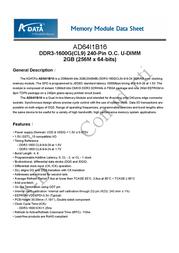 ADATA 4GB DDR3 PC3-12800 DC Kit AX3U1600GB2G9-AG User Manual