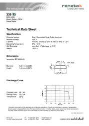 Renata Button cell Silver oxide 339 11 mAh 1.55 V 1 pc(s) 339.SP MF Data Sheet