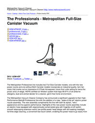 Metropolitan Vacuum Cleaner Company ADM-4SF User Manual