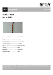 Reely SERVO CABLE, 5M, 3X0,08MM²,SW/GB/RT SH1998C136C Data Sheet