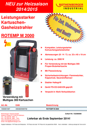 Rothenberger Cartridge gas heater Red, Black 1500001067 1500001067 Data Sheet