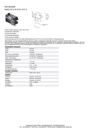 Hartmann Microswitch 250 Vac 16 A 1 x On/(On) 53-261008 momentary 1 pc(s) 53-261008 Data Sheet